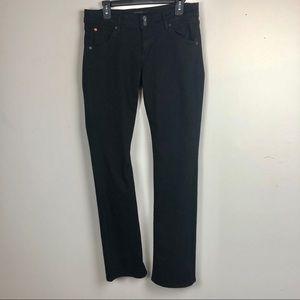 Hudson black size 30 straight leg flap jeans